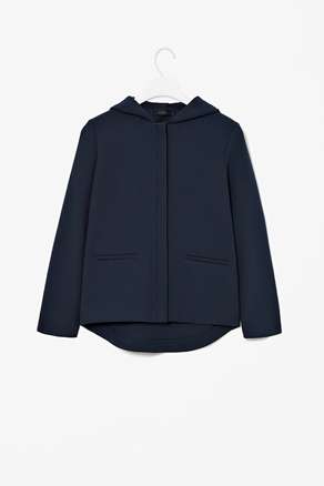 Hooded Jacket - pattern: plain; style: boxy; predominant colour: navy; occasions: casual; length: standard; fit: straight cut (boxy); fibres: polyester/polyamide - mix; collar: shirt collar/peter pan/zip with opening; back detail: longer hem at back than at front; sleeve length: long sleeve; sleeve style: standard; texture group: crepes; collar break: high; pattern type: fabric; season: a/w 2012; wardrobe: basic