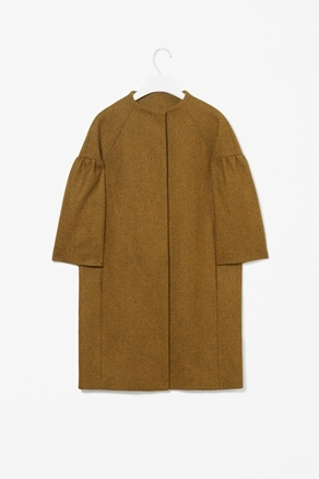Melange Wool Coat - pattern: plain; collar: round collar/collarless; style: single breasted; shoulder detail: tiers/frills/ruffles; sleeve style: trumpet; length: mid thigh; predominant colour: mustard; occasions: casual, evening, work, occasion; fit: straight cut (boxy); fibres: wool - mix; sleeve length: 3/4 length; trends: deep tones; collar break: high; pattern type: fabric; pattern size: standard; texture group: woven bulky/heavy; season: a/w 2012
