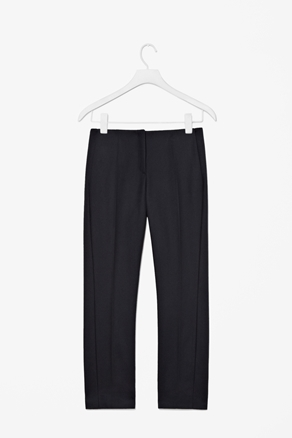 Waist Pleat Trousers - length: standard; pattern: plain; waist detail: fitted waist; pocket detail: pockets at the sides; waist: mid/regular rise; predominant colour: black; occasions: casual, evening, work; fibres: polyester/polyamide - stretch; hip detail: front pleats at hip level; trends: pure tailoring; fit: straight leg; pattern type: fabric; texture group: jersey - stretchy/drapey; style: standard; season: a/w 2012; pattern size: standard (bottom)