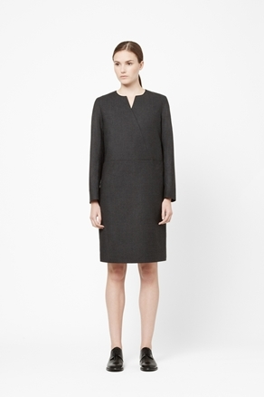 Crossover Wool Dress - style: shift; neckline: v-neck; pattern: plain; predominant colour: black; occasions: casual, evening; length: just above the knee; fit: straight cut; fibres: wool - mix; hip detail: sculpting darts/pleats/seams at hip; sleeve length: long sleeve; sleeve style: standard; pattern type: fabric; texture group: woven light midweight; season: a/w 2012