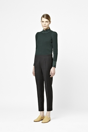 Slim Wool Trousers - pattern: plain; pocket detail: small back pockets, pockets at the sides; waist: mid/regular rise; predominant colour: black; occasions: casual, work, occasion; length: ankle length; fibres: wool - 100%; jeans & bottoms detail: turn ups; trends: pure tailoring; fit: slim leg; pattern type: fabric; texture group: woven light midweight; style: standard; season: a/w 2012; pattern size: standard (bottom)