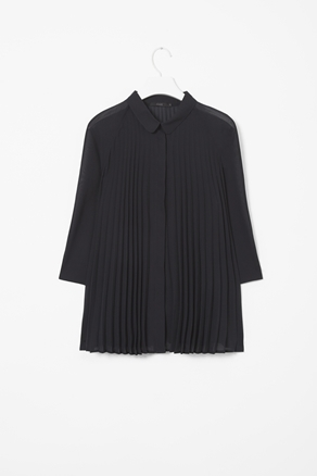 A Line Pleated Shirt - neckline: shirt collar/peter pan/zip with opening; pattern: plain; style: shirt; bust detail: subtle bust detail; predominant colour: black; occasions: casual, evening, work; length: standard; fibres: polyester/polyamide - 100%; fit: loose; sleeve length: 3/4 length; sleeve style: standard; texture group: sheer fabrics/chiffon/organza etc.; pattern type: fabric; season: a/w 2012; wardrobe: basic