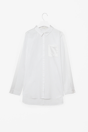 Shirt With Silk Panels - neckline: shirt collar/peter pan/zip with opening; pattern: plain; length: below the bottom; style: shirt; predominant colour: white; occasions: casual, evening, work; fibres: cotton - 100%; fit: straight cut; back detail: longer hem at back than at front; sleeve length: long sleeve; sleeve style: standard; texture group: cotton feel fabrics; pattern type: fabric; season: a/w 2012
