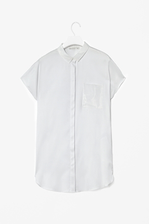 Silk And Organza Shirt - neckline: shirt collar/peter pan/zip with opening; pattern: plain; style: shirt; predominant colour: white; occasions: casual, evening, work; length: standard; fibres: silk - mix; fit: straight cut; sleeve length: short sleeve; sleeve style: standard; texture group: crepes; pattern type: fabric; pattern size: standard; season: a/w 2012