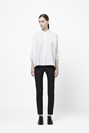 A Line Cotton Shirt - neckline: shirt collar/peter pan/zip with opening; sleeve style: raglan; pattern: plain; style: shirt; predominant colour: white; occasions: casual, evening, work; length: standard; fibres: cotton - mix; fit: straight cut; sleeve length: 3/4 length; trends: pure tailoring; texture group: crepes; pattern type: fabric; pattern size: standard; season: a/w 2012