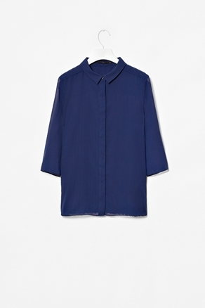 Sheer Back Pleat Top - neckline: shirt collar/peter pan/zip with opening; pattern: plain; style: shirt; predominant colour: navy; occasions: casual, evening, work; length: standard; fibres: polyester/polyamide - 100%; fit: straight cut; sleeve length: 3/4 length; sleeve style: standard; trends: deep tones; texture group: crepes; pattern type: fabric; pattern size: standard; season: a/w 2012
