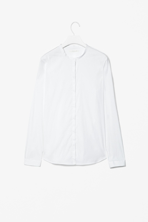 Slim Collarless Shirt - neckline: round neck; pattern: plain; style: shirt; predominant colour: white; occasions: casual, evening, work; length: standard; fibres: cotton - mix; fit: straight cut; sleeve length: long sleeve; sleeve style: standard; trends: pure tailoring; texture group: crepes; pattern type: fabric; pattern size: standard; season: a/w 2012