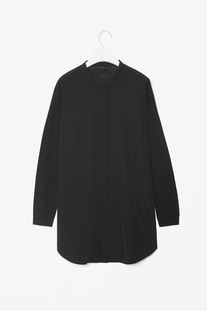 Wool And Silk Shirt - neckline: mandarin; pattern: plain; length: below the bottom; style: shirt; bust detail: buttons at bust (in middle at breastbone)/zip detail at bust; predominant colour: black; occasions: casual, work; fibres: wool - 100%; fit: straight cut; hip detail: dip hem; sleeve length: long sleeve; sleeve style: standard; texture group: jersey - clingy; pattern type: fabric; pattern size: standard; season: a/w 2012