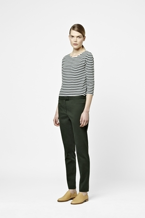 3/4 Sleeved Top - neckline: round neck; pattern: horizontal stripes; style: t-shirt; predominant colour: black; occasions: casual, work; length: standard; fibres: cotton - stretch; fit: loose; sleeve length: 3/4 length; sleeve style: standard; texture group: jersey - clingy; pattern type: fabric; pattern size: standard; season: a/w 2012