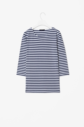3/4 Sleeved Top - neckline: round neck; pattern: horizontal stripes; style: t-shirt; predominant colour: navy; occasions: casual; length: standard; fibres: cotton - stretch; fit: loose; sleeve length: 3/4 length; sleeve style: standard; texture group: jersey - clingy; pattern type: fabric; pattern size: standard; season: a/w 2012