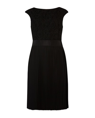 Ted Baker Aliana Lace Dress - style: shift; neckline: slash/boat neckline; sleeve style: capped; fit: tailored/fitted; back detail: back revealing; predominant colour: black; occasions: evening, occasion; length: just above the knee; fibres: polyester/polyamide - mix; sleeve length: sleeveless; texture group: lace; pattern type: fabric; pattern: patterned/print; season: a/w 2012