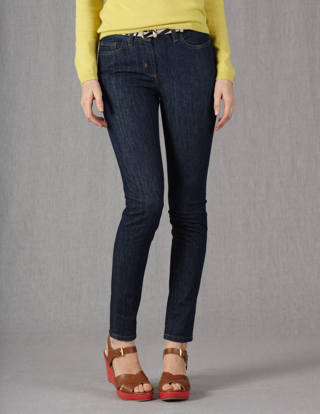 Skinny Ankle Skimmer Jeans - style: skinny leg; pattern: plain; pocket detail: traditional 5 pocket; waist: mid/regular rise; predominant colour: navy; occasions: casual; length: ankle length; fibres: cotton - stretch; jeans detail: dark wash; texture group: denim; pattern type: fabric; season: s/s 2013