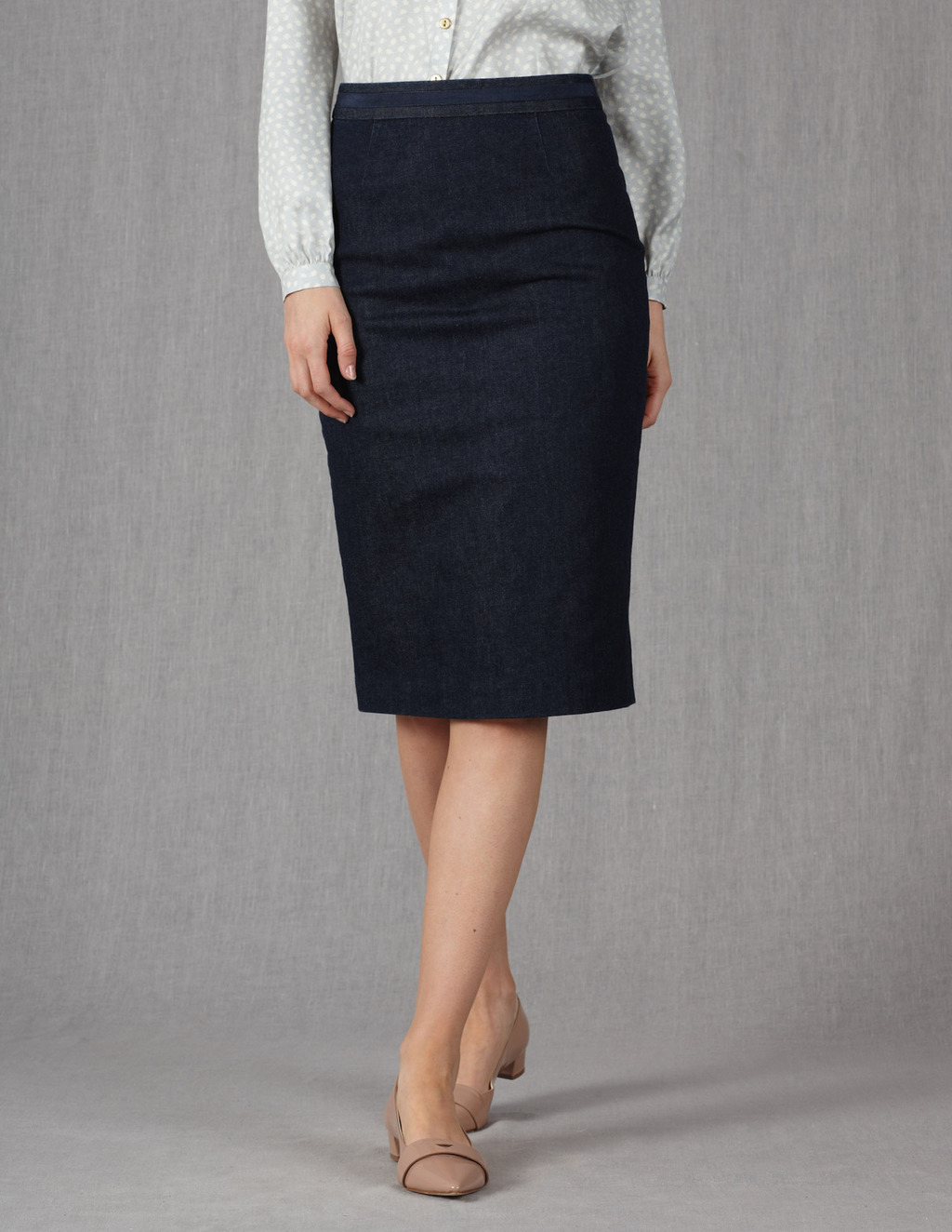 Modern Pencil Skirt - length: below the knee; pattern: plain; style: pencil; fit: tailored/fitted; waist: high rise; predominant colour: navy; occasions: casual, work; fibres: cotton - mix; waist detail: narrow waistband; texture group: cotton feel fabrics; pattern type: fabric; season: s/s 2013