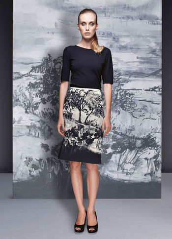 Skirt - style: pencil; fit: tailored/fitted; waist: mid/regular rise; predominant colour: black; occasions: evening, work; length: on the knee; fibres: polyester/polyamide - 100%; trends: high impact florals, statement prints; pattern type: fabric; pattern: patterned/print; texture group: other - light to midweight; season: a/w 2012; pattern size: big & busy (bottom)