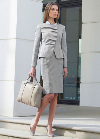 Pencil Skirt - pattern: plain; style: pencil; fit: tailored/fitted; waist: high rise; predominant colour: light grey; occasions: evening, work; length: on the knee; fibres: wool - mix; texture group: knits/crochet; pattern type: knitted - fine stitch; season: a/w 2012