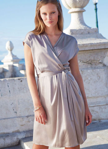 Silk Satin Dress - style: faux wrap/wrap; neckline: v-neck; sleeve style: capped; fit: fitted at waist; pattern: plain; waist detail: belted waist/tie at waist/drawstring; bust detail: subtle bust detail; predominant colour: taupe; occasions: evening, occasion; length: just above the knee; hip detail: subtle/flattering hip detail; sleeve length: short sleeve; texture group: silky - light; pattern type: fabric; fibres: silk - stretch; season: a/w 2012