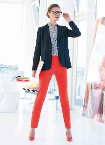 Trousers - pattern: plain; waist: mid/regular rise; predominant colour: true red; occasions: casual, evening, work, holiday; length: ankle length; fibres: polyester/polyamide - stretch; texture group: cotton feel fabrics; fit: slim leg; pattern type: fabric; style: standard; season: a/w 2012