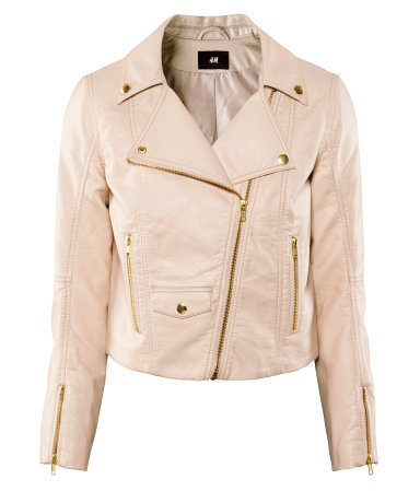 Jacket - pattern: plain; style: biker; bust detail: added detail/embellishment at bust; collar: asymmetric biker; fit: slim fit; predominant colour: blush; occasions: casual, work; length: standard; fibres: polyester/polyamide - 100%; waist detail: fitted waist; sleeve length: long sleeve; sleeve style: standard; texture group: leather; collar break: medium; pattern type: fabric; season: a/w 2012