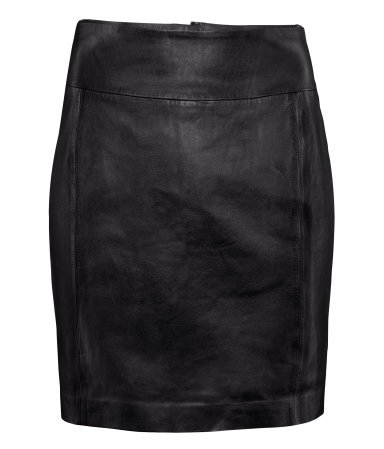 Leather Skirt - length: mid thigh; pattern: plain; style: pencil; fit: tailored/fitted; waist detail: wide waistband/cummerbund; waist: high rise; predominant colour: black; occasions: casual, evening, work; fibres: leather - 100%; texture group: leather; pattern type: fabric; season: a/w 2012; pattern size: standard (bottom)