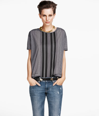 Top - neckline: round neck; style: t-shirt; predominant colour: mid grey; occasions: casual, evening, work, occasion; length: standard; fibres: polyester/polyamide - 100%; fit: loose; sleeve length: short sleeve; sleeve style: standard; trends: striking stripes, statement prints; pattern type: fabric; pattern size: standard; pattern: patterned/print; texture group: jersey - stretchy/drapey; season: a/w 2012