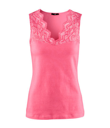 Top - neckline: v-neck; pattern: plain; sleeve style: sleeveless; predominant colour: pink; occasions: casual, evening, work; length: standard; style: top; fibres: cotton - stretch; fit: body skimming; bust detail: contrast pattern/fabric/detail at bust; sleeve length: sleeveless; texture group: jersey - clingy; trends: fluorescent; pattern type: fabric; pattern size: light/subtle; season: a/w 2012
