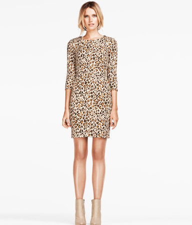 Dress - style: shift; length: mid thigh; neckline: round neck; predominant colour: tan; occasions: casual, evening; fit: body skimming; fibres: polyester/polyamide - stretch; sleeve length: 3/4 length; sleeve style: standard; pattern type: fabric; pattern size: standard; pattern: animal print; texture group: jersey - stretchy/drapey; season: a/w 2012