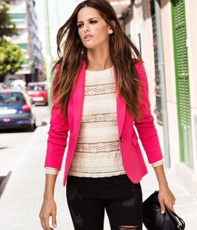 Jacket - pattern: plain; style: single breasted blazer; collar: standard lapel/rever collar; predominant colour: hot pink; occasions: casual, evening, work; length: standard; fit: tailored/fitted; fibres: polyester/polyamide - stretch; sleeve length: long sleeve; sleeve style: standard; trends: fluorescent; collar break: low/open; pattern type: fabric; texture group: other - stretchy; season: a/w 2012