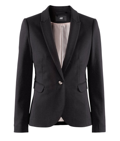 Jacket - pattern: plain; style: single breasted blazer; collar: standard lapel/rever collar; predominant colour: black; occasions: casual, evening, work; length: standard; fit: tailored/fitted; fibres: polyester/polyamide - stretch; waist detail: fitted waist; sleeve length: long sleeve; sleeve style: standard; collar break: low/open; pattern type: fabric; texture group: other - stretchy; season: a/w 2012; hip detail: front pockets at hip