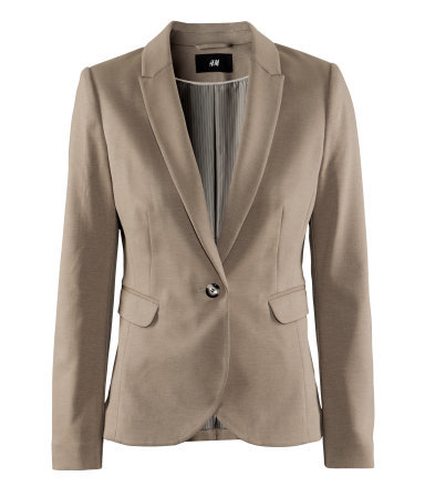 Jacket - pattern: plain; style: single breasted blazer; collar: standard lapel/rever collar; predominant colour: stone; occasions: casual, work; length: standard; fit: tailored/fitted; fibres: polyester/polyamide - mix; waist detail: fitted waist; sleeve length: long sleeve; sleeve style: standard; collar break: low/open; pattern type: fabric; texture group: other - light to midweight; season: a/w 2012; hip detail: front pockets at hip