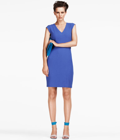 Dress - style: shift; neckline: v-neck; sleeve style: capped; pattern: plain; waist detail: fitted waist; hip detail: draws attention to hips; predominant colour: diva blue; occasions: evening; length: just above the knee; fit: body skimming; fibres: polyester/polyamide - stretch; sleeve length: short sleeve; pattern type: fabric; texture group: jersey - stretchy/drapey; season: a/w 2012