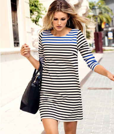 Dress - style: shift; length: mid thigh; neckline: round neck; pattern: horizontal stripes; predominant colour: white; occasions: casual; fit: soft a-line; fibres: polyester/polyamide - stretch; bust detail: contrast pattern/fabric/detail at bust; sleeve length: 3/4 length; sleeve style: standard; trends: striking stripes; pattern type: fabric; pattern size: standard; texture group: jersey - stretchy/drapey; season: a/w 2012