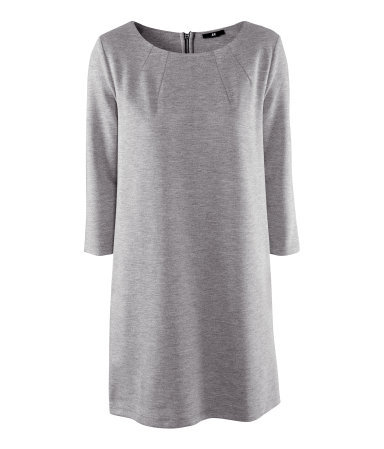 Dress - style: shift; length: mid thigh; neckline: round neck; pattern: plain; predominant colour: light grey; occasions: casual; fit: straight cut; fibres: polyester/polyamide - stretch; sleeve length: 3/4 length; sleeve style: standard; pattern type: fabric; texture group: jersey - stretchy/drapey; season: a/w 2012