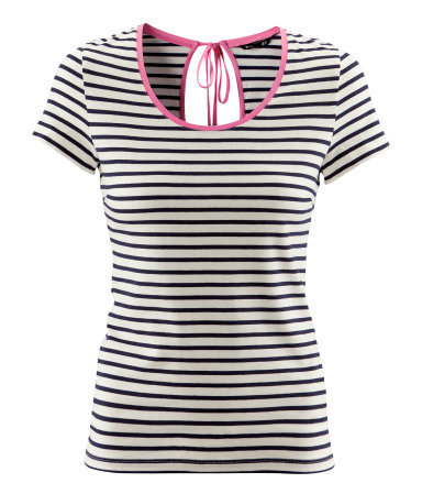 Top - pattern: horizontal stripes; predominant colour: black; occasions: casual; length: standard; style: top; neckline: scoop; fibres: cotton - stretch; fit: body skimming; back detail: keyhole/peephole detail at back; sleeve length: short sleeve; sleeve style: standard; trends: striking stripes; pattern type: fabric; pattern size: standard; texture group: jersey - stretchy/drapey; season: a/w 2012