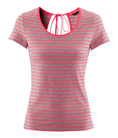 Top - pattern: horizontal stripes; style: t-shirt; predominant colour: mid grey; occasions: casual; length: standard; neckline: scoop; fibres: cotton - mix; fit: body skimming; back detail: keyhole/peephole detail at back; sleeve length: short sleeve; sleeve style: standard; trends: striking stripes; pattern type: fabric; pattern size: standard; texture group: jersey - stretchy/drapey; season: a/w 2012