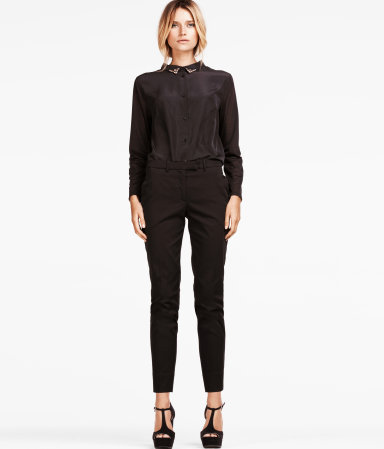 Trousers - length: standard; pattern: plain; pocket detail: small back pockets, pockets at the sides; waist: mid/regular rise; predominant colour: black; occasions: casual, evening, work; fibres: cotton - stretch; hip detail: fitted at hip (bottoms); waist detail: narrow waistband; fit: slim leg; pattern type: fabric; texture group: other - light to midweight; style: standard; season: a/w 2012; pattern size: standard (bottom)