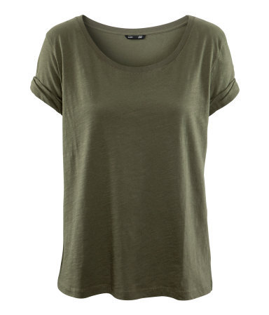 Top - pattern: plain; style: t-shirt; predominant colour: khaki; occasions: casual; length: standard; neckline: scoop; fibres: cotton - 100%; fit: loose; sleeve length: short sleeve; sleeve style: standard; texture group: cotton feel fabrics; pattern type: fabric; pattern size: standard; season: a/w 2012