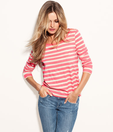 Top - neckline: round neck; pattern: horizontal stripes; style: t-shirt; predominant colour: pink; occasions: casual, work; length: standard; fibres: cotton - 100%; fit: body skimming; sleeve length: 3/4 length; sleeve style: standard; texture group: cotton feel fabrics; trends: striking stripes; pattern type: fabric; pattern size: standard; season: a/w 2012