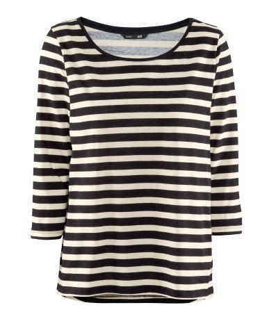 Top - neckline: round neck; pattern: horizontal stripes; style: t-shirt; secondary colour: ivory/cream; predominant colour: black; occasions: casual, work; length: standard; fibres: cotton - 100%; fit: straight cut; sleeve length: 3/4 length; sleeve style: standard; texture group: cotton feel fabrics; trends: striking stripes, monochrome; pattern type: fabric; pattern size: standard; season: a/w 2012