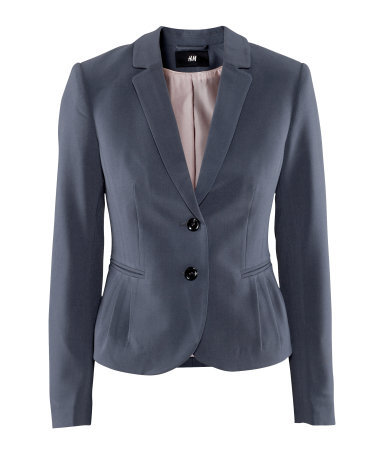 Jacket - pattern: plain; style: single breasted blazer; collar: standard lapel/rever collar; predominant colour: navy; occasions: casual, evening, work, occasion; length: standard; fit: tailored/fitted; fibres: polyester/polyamide - mix; waist detail: fitted waist; sleeve length: long sleeve; sleeve style: standard; collar break: medium; pattern type: fabric; pattern size: standard; texture group: other - light to midweight; season: a/w 2012; hip detail: side pockets at hip