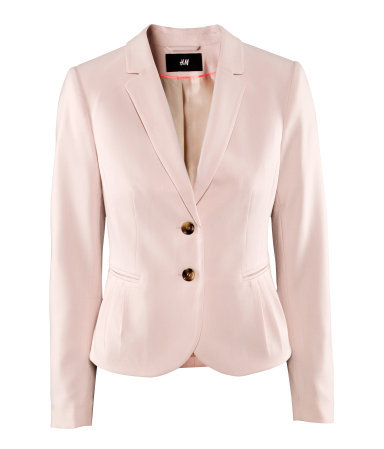 Jacket - pattern: plain; style: single breasted blazer; collar: standard lapel/rever collar; predominant colour: blush; occasions: casual, evening, work; length: standard; fit: tailored/fitted; fibres: polyester/polyamide - mix; sleeve length: long sleeve; sleeve style: standard; collar break: low/open; pattern type: fabric; pattern size: standard; texture group: other - light to midweight; season: a/w 2012; hip detail: front pockets at hip