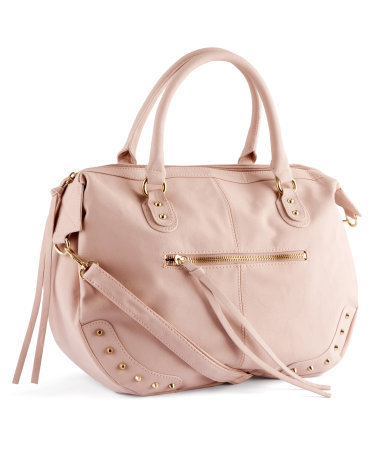 Bag - predominant colour: blush; occasions: casual, creative work; type of pattern: small; style: tote; length: handle; size: standard; material: faux leather; embellishment: studs; pattern: plain; finish: plain; season: a/w 2012