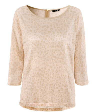 Linen Top - neckline: round neck; predominant colour: stone; occasions: casual, work; length: standard; style: top; fibres: linen - 100%; fit: loose; back detail: longer hem at back than at front; sleeve length: 3/4 length; sleeve style: standard; texture group: linen; trends: statement prints; pattern type: fabric; pattern size: standard; pattern: animal print; season: a/w 2012