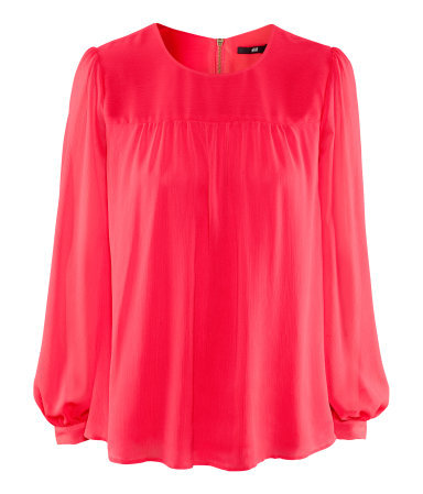 Blouse - neckline: round neck; pattern: plain; sleeve style: balloon; style: blouse; bust detail: subtle bust detail; predominant colour: pink; occasions: casual, work; length: standard; fibres: polyester/polyamide - 100%; fit: loose; shoulder detail: subtle shoulder detail; sleeve length: long sleeve; texture group: sheer fabrics/chiffon/organza etc.; pattern type: fabric; season: a/w 2012; wardrobe: highlight