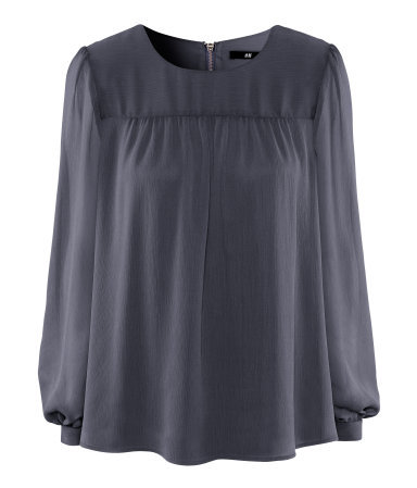Blouse - neckline: round neck; pattern: plain; sleeve style: balloon; style: blouse; bust detail: ruching/gathering/draping/layers/pintuck pleats at bust; predominant colour: charcoal; occasions: casual, evening, work; length: standard; fibres: polyester/polyamide - 100%; fit: loose; shoulder detail: flat/draping pleats/ruching/gathering at shoulder; sleeve length: long sleeve; texture group: sheer fabrics/chiffon/organza etc.; trends: volume; pattern type: fabric; pattern size: standard; season: a/w 2012