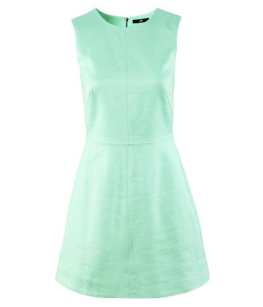 Dress - length: mid thigh; pattern: plain; sleeve style: sleeveless; waist detail: fitted waist; predominant colour: pistachio; occasions: casual; fit: fitted at waist & bust; style: fit & flare; fibres: cotton - 100%; neckline: crew; sleeve length: sleeveless; texture group: cotton feel fabrics; pattern type: fabric; season: a/w 2012