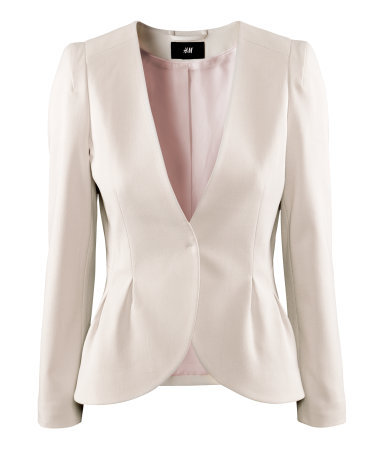 Jacket - pattern: plain; style: single breasted blazer; collar: round collar/collarless; predominant colour: ivory/cream; occasions: evening, work, occasion; length: standard; fit: tailored/fitted; fibres: polyester/polyamide - mix; waist detail: peplum detail at waist; sleeve length: long sleeve; sleeve style: standard; collar break: low/open; pattern type: fabric; texture group: other - light to midweight; season: a/w 2012; wardrobe: investment