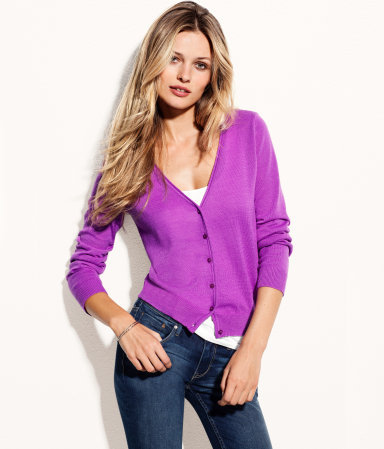 Cardigan - neckline: v-neck; pattern: plain; hip detail: draws attention to hips; bust detail: buttons at bust (in middle at breastbone)/zip detail at bust; predominant colour: magenta; occasions: casual, work; length: standard; style: standard; fibres: polyester/polyamide - 100%; fit: standard fit; sleeve length: long sleeve; sleeve style: standard; trends: fluorescent; pattern type: fabric; pattern size: standard; texture group: jersey - stretchy/drapey; season: a/w 2012
