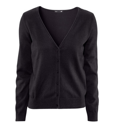 Cardigan - neckline: low v-neck; pattern: plain; hip detail: fitted at hip; bust detail: buttons at bust (in middle at breastbone)/zip detail at bust; predominant colour: black; occasions: casual, work; length: standard; style: standard; fibres: cotton - mix; fit: standard fit; sleeve length: long sleeve; sleeve style: standard; pattern type: fabric; pattern size: standard; texture group: jersey - stretchy/drapey; season: a/w 2012