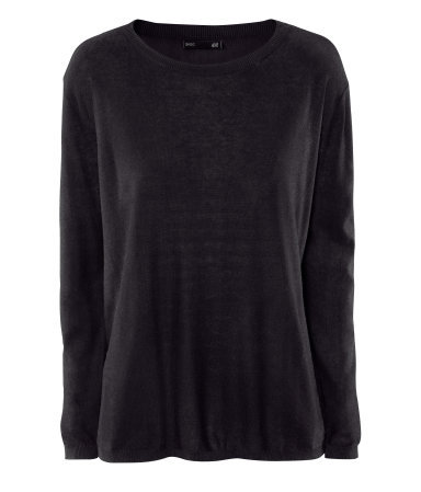 Jumper - neckline: round neck; pattern: plain; style: standard; hip detail: draws attention to hips; predominant colour: black; occasions: casual, work; length: standard; fibres: cotton - mix; fit: loose; sleeve length: long sleeve; sleeve style: standard; pattern type: knitted - fine stitch; pattern size: standard; texture group: jersey - stretchy/drapey; season: a/w 2012