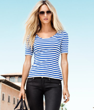 Top - pattern: horizontal stripes; waist detail: fitted waist; style: t-shirt; hip detail: fitted at hip; predominant colour: diva blue; occasions: casual, holiday; length: standard; neckline: scoop; fibres: cotton - mix; fit: body skimming; back detail: embellishment at back; sleeve length: short sleeve; sleeve style: standard; texture group: jersey - clingy; pattern type: fabric; pattern size: standard; season: a/w 2012